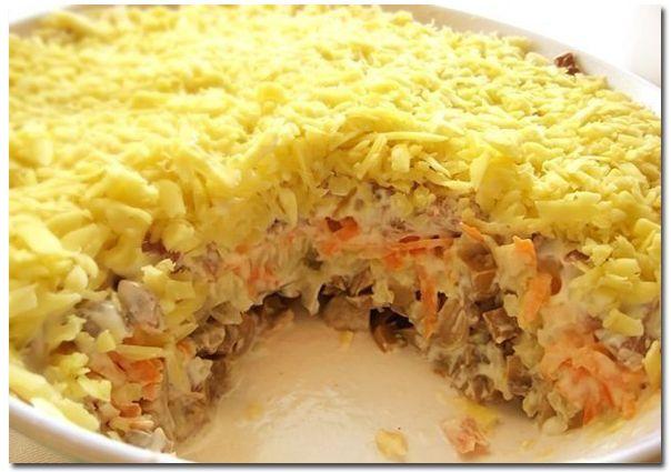 Праздничные салаты с грибами рецепты с фото