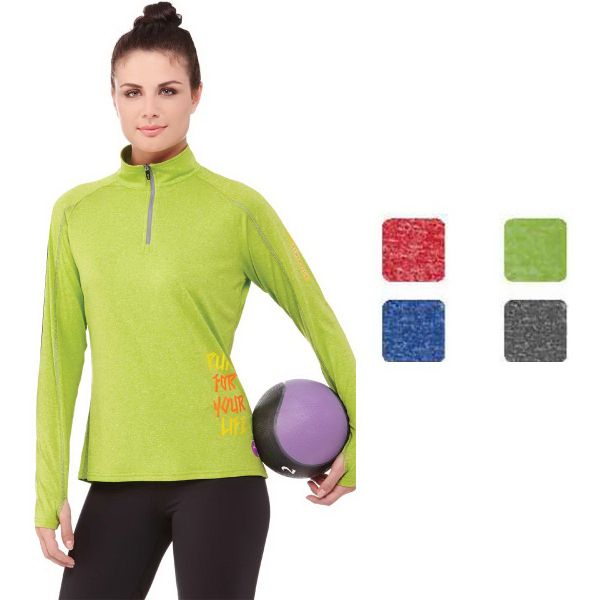 Women's Taza knit quarter zip. Features: Center front exposed contrast reverse coil zipper. Autolock zipper pull. Zipper garage center front feature. Exterior media cord guide. Sleeve cuffs with thumb exit. Contrast coverstitching. Fabric: 100% Mirco polyester cross dyed jersey knit with anti-microbial and wicking finish. 150 g/m2 (4.4 oz/yd2). UV UPF 15-39 protection. Snag resistant. Pricing effective January 1, 2016. Please contact us for more details.
