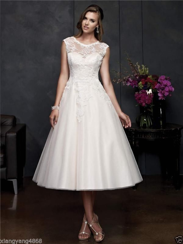 White Ivory Tea Length Short Lace Wedding Dress Bridal Gowns 2 4 6 8 10 12 14 16