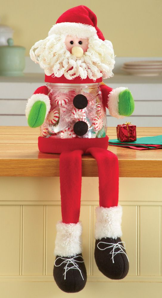 Santa Gifts-Shelf Sitter Christmas Treat Jar Charming Sitting Santa holds your favorite treats while also being an adorably festive decoration on a counter. http://kittykatkoutique.com/products-all/santa-gifts-shelf-sitter-christmas-treat-jar/
