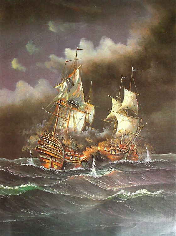Battle in the Stormy Seas (Reprint on Paper - Unframed)