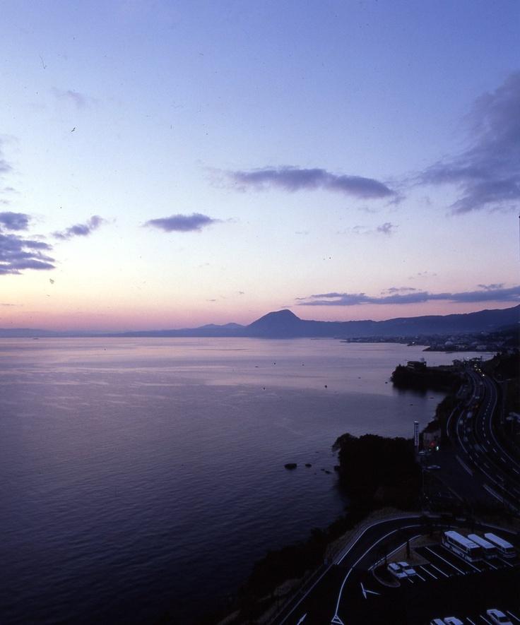 別府湾の夕日。