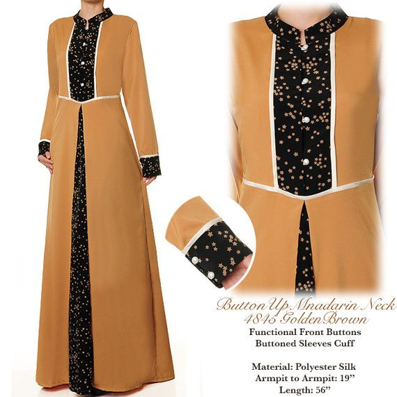 Golden Brown Mandarin Neck Islamic Summer Abaya Long by MissMode21