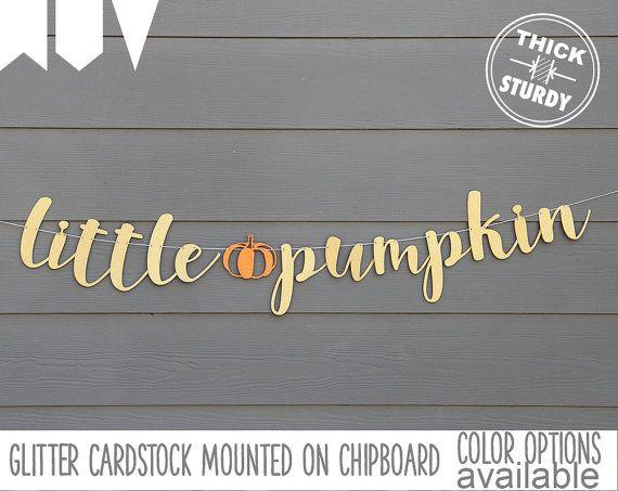 little pumpkin banner, baby shower banner, fall baby, gold glitter party decorations, cursive banner