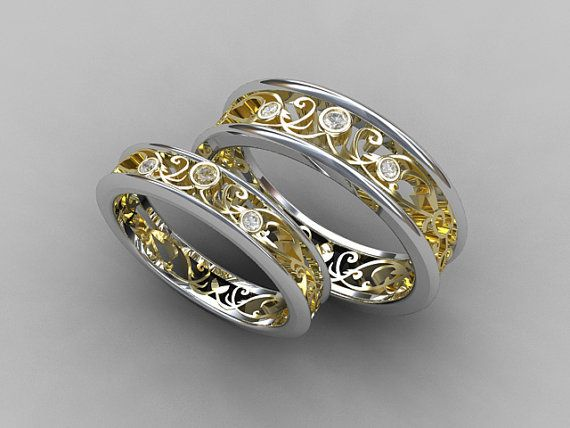 Wedding band set, two tone, gold, diamond wedding band, mens diamond ring, filigree, diamond wedding, lace ring, ring set