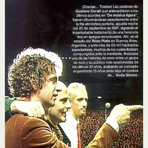 "l l 20 de Septiembre ""Dìa de Gracias Totales"" 1997-2016. #GraciasTotales16  #Cerati #SodaStereo"