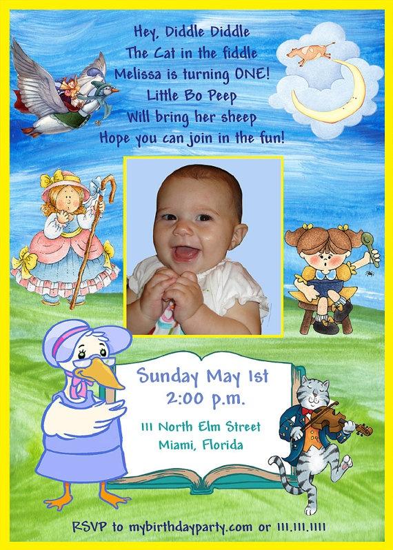 10 best nursery rhyme theme bday images on pinterest children items similar to mother goose birthday invitation on etsy filmwisefo Choice Image