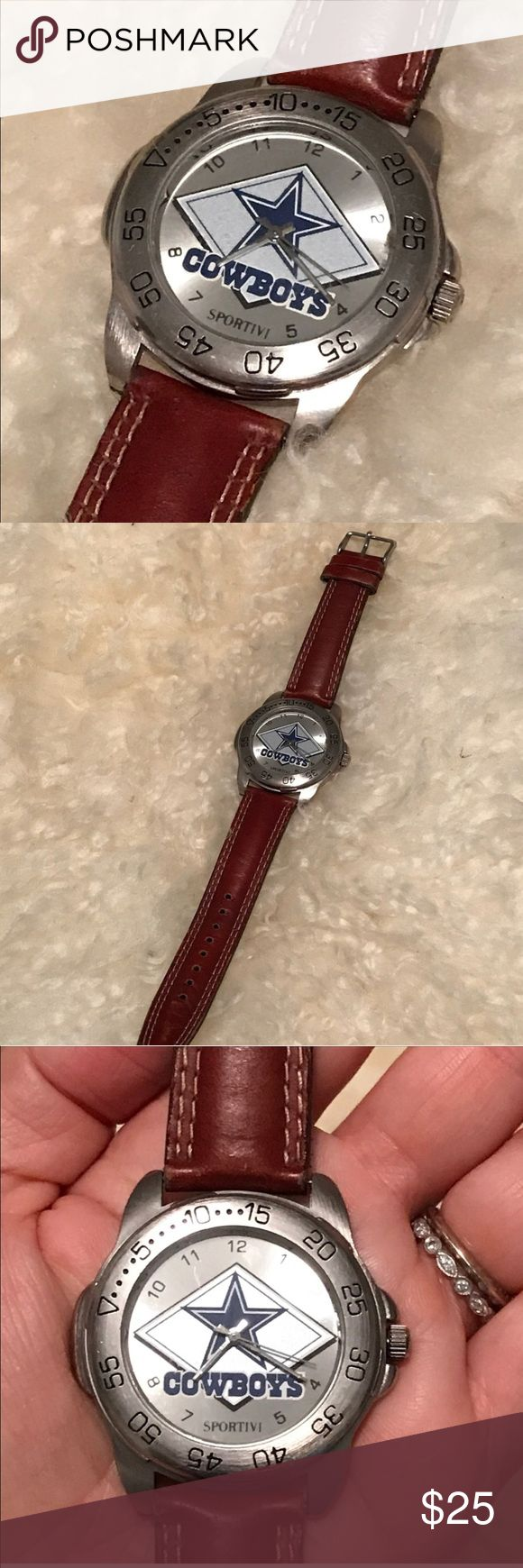 Dallas Cowboys watch Men's, Dallas Cowboys watch with brown leather band. Great condition. Needs new battery. La Sportiv Accessories Watches