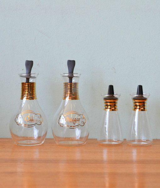 Vintage Pyrex oil, vinegar glass bottles gold gilding 2 x small condiment