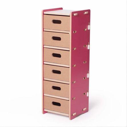 Modern Pink and White 6 Drawer Organizer