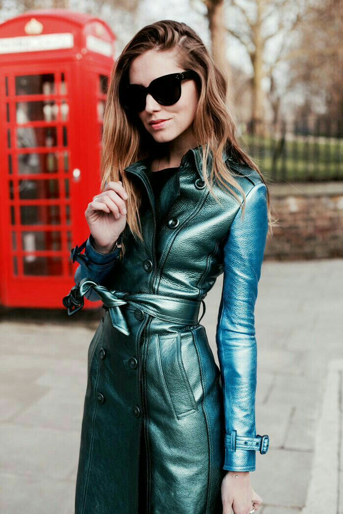 Metallic leather two tone Burberry coat