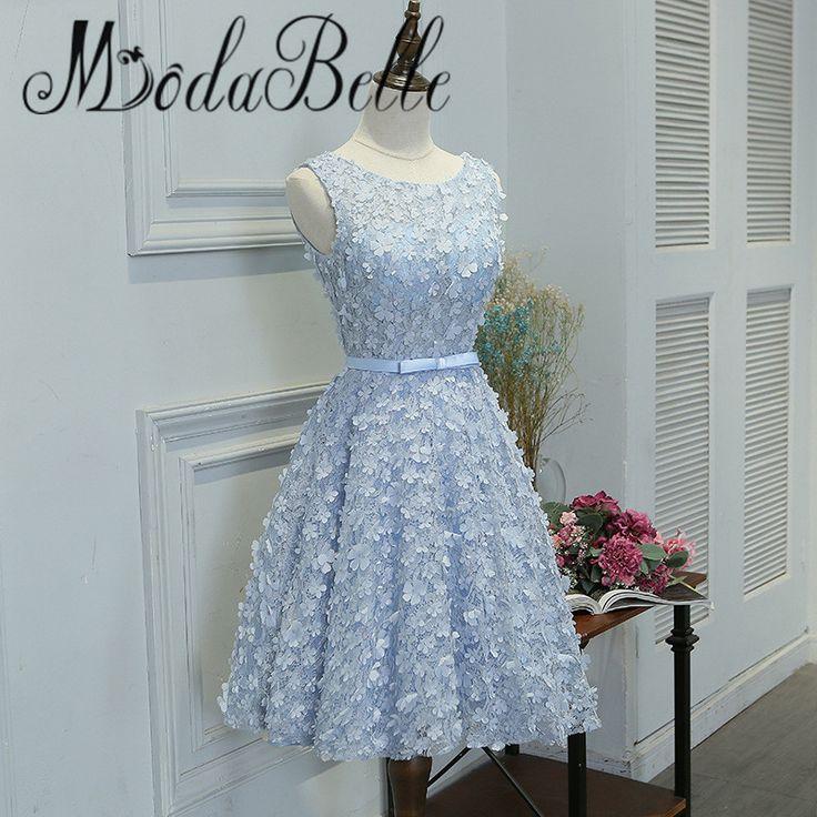 >> Click to Buy << modabelle Robe De Soiree Courte 2017 Short Prom Dress Flowers Lace Short Girl Blue Graduation Dress For Teenagers Gala Jurken #Affiliate