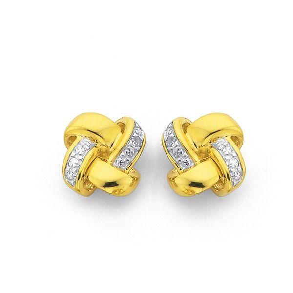9ct Gold Diamond Knot Studs