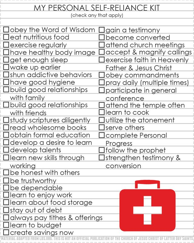 Young women handouts. My Personal Self-Reliance Kit checklist. What does it mean to be self-reliant? handouts from LDS NEST for Come, Follow Me #lds #ldsyw #ldsne...