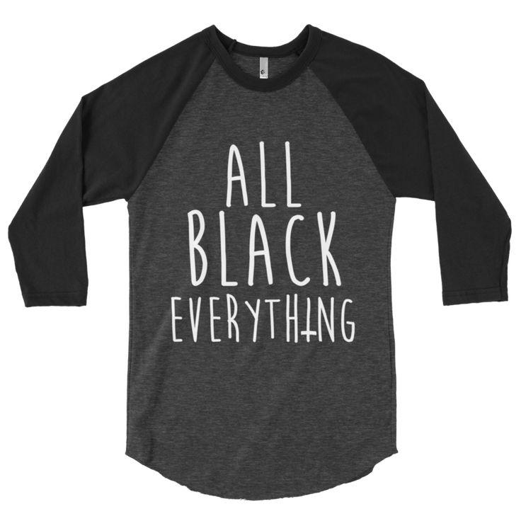 All Black Everything Raglan - Mortal Threads