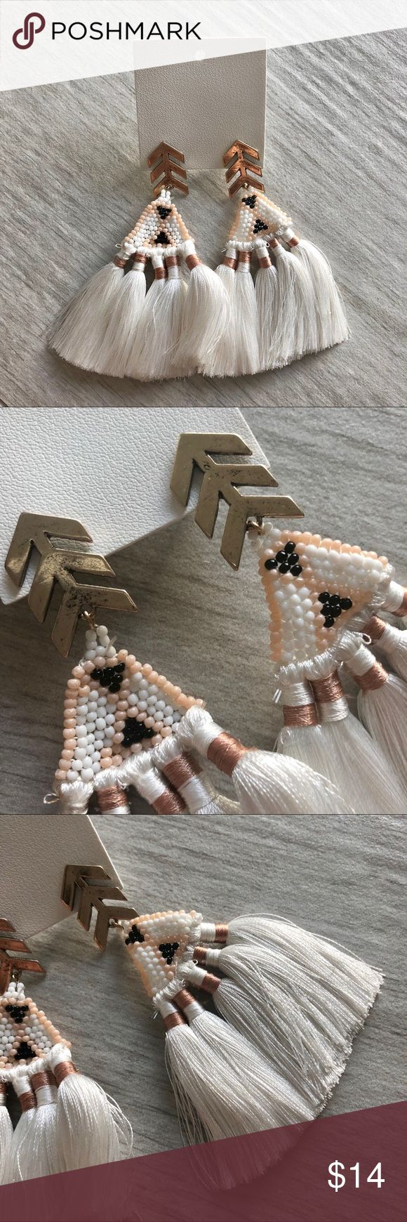 Free People Duster Earrings Free People white string and bead duster earrings with peach and black accent. Never worn. Still in stores!  Bundle your likes for a great discount! Free People Jewelry Earrings