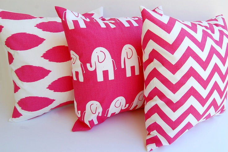 Hot Pink Throw Pillow Covers Set Of Three Chevron