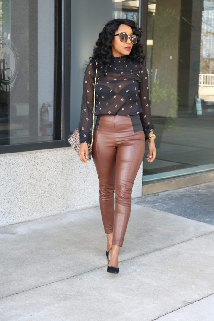 How to style brown leather pants for a chic winter outfit