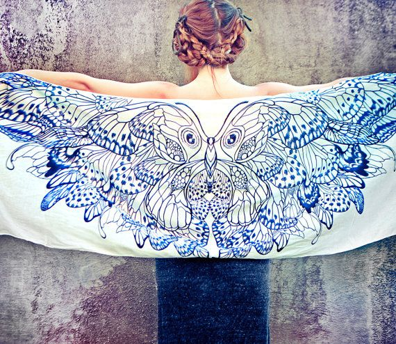 OUT OF STOCK  Women scarf Hand painted Butterflies in by Shovava