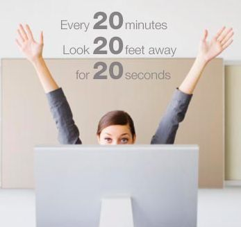 Tips for healthier eyes: Take breaks well working on your computer: Staring at a computer (or any digital screen) won't hurt your eyes, but it can make them feel tired and dry.Follow the 20/20/20 rule: Every 20 minutes, look at least 20 feet away for at least 20 seconds. Tip: Place your screen so it's about 25 inches away and slightly below eye level, and reduce glare by moving light sources or using a screen filter. Brought to you by 2020 Optical Store #London