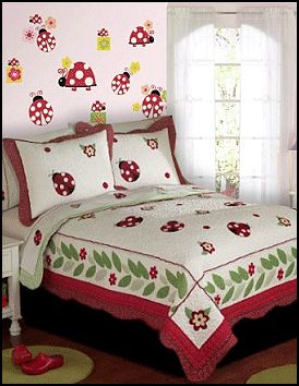 Lady Bug  bedding girls garden theme bedroom decorating. Lady Bug Yard is a bright collection of red and black lady bugs on a bed of white. Happy Ladybugs frolic amongst beautiful flowers.