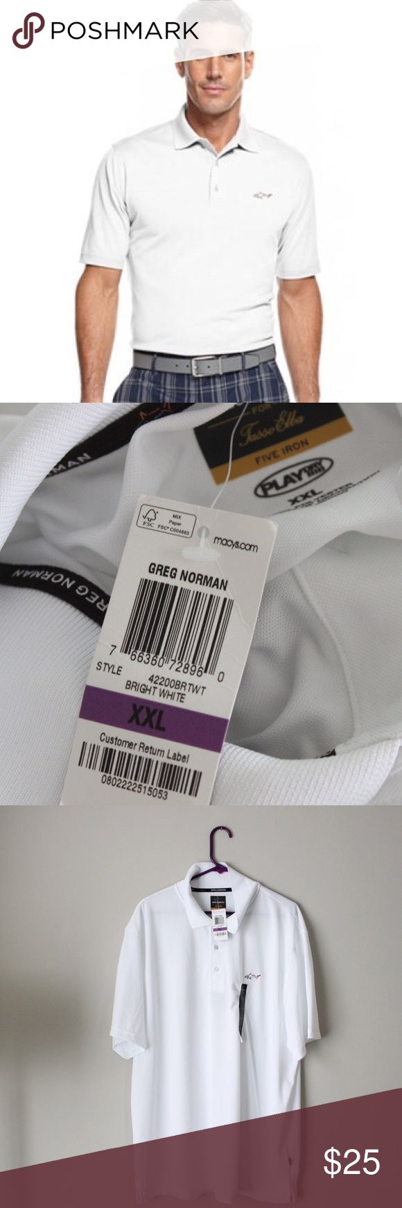 Greg Norman White Golf Polo Shirt Greg Norman golf polo, new with tags.  Fits true to size. Shown on a size 4/6 mannequin.. Measurements available upon request. All orders ship same or next business day! Greg Norman Shirts Polos