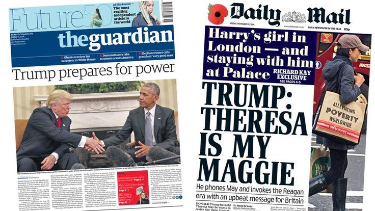 Newspaper headlines: Trump and Obama's 'awkward' meeting - BBC News