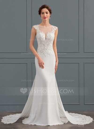 16545134516a Trumpet/Mermaid Scoop Neck Chapel Train Satin Wedding Dress With Sequins  (002134404) - JJsHouse