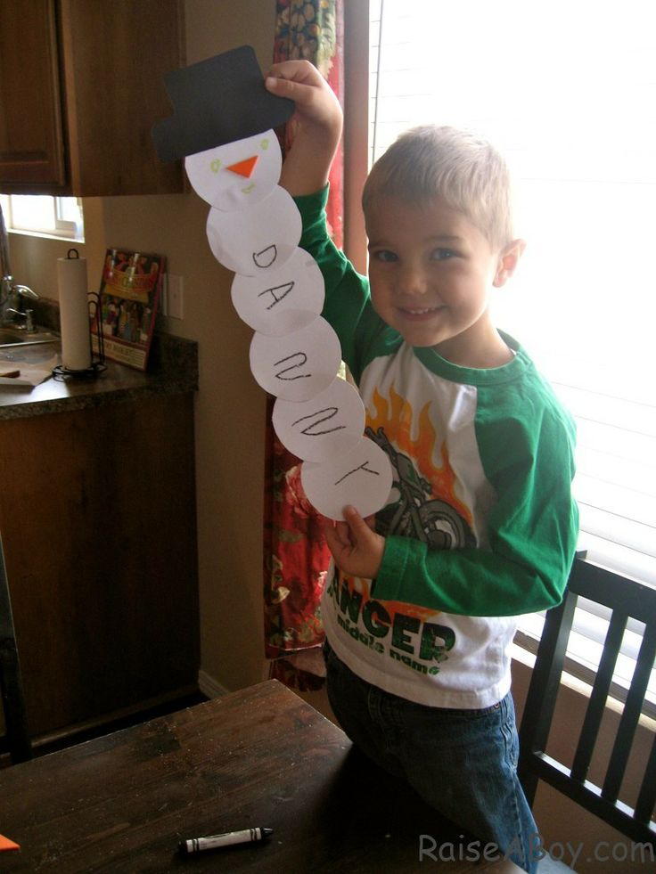 Add one circle for each letter of your child's name for a fun winter art project and name writing practice.