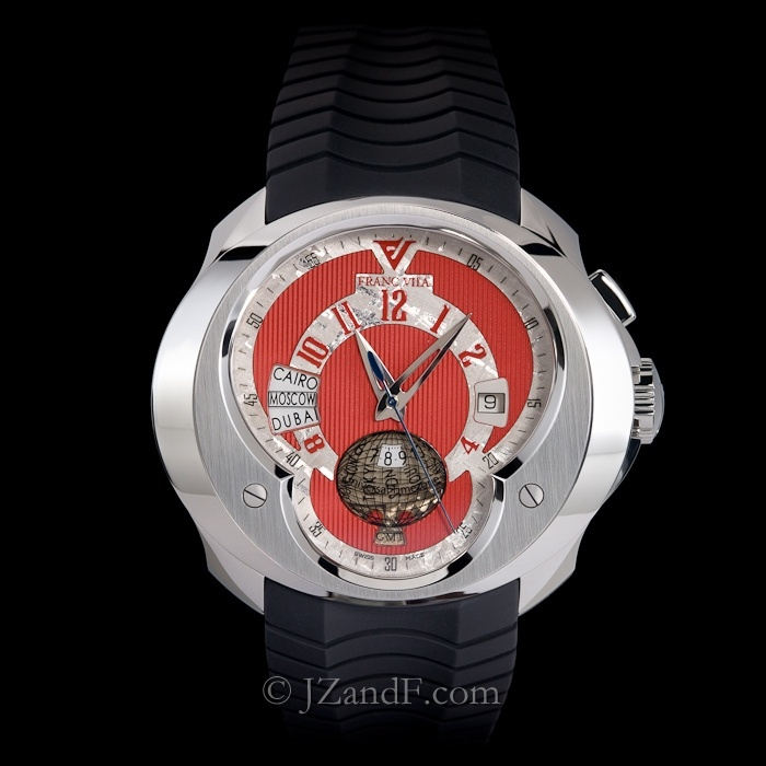 Watch: Franc Vila FVa5 Universal Time Zone (UTC) World Timer GMT - Exotic All Red Dial w. Silver Meteorite