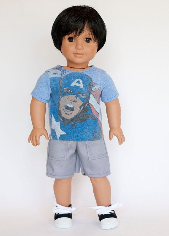 American Boy doll upcycled Captain America T by EverydayDollwear
