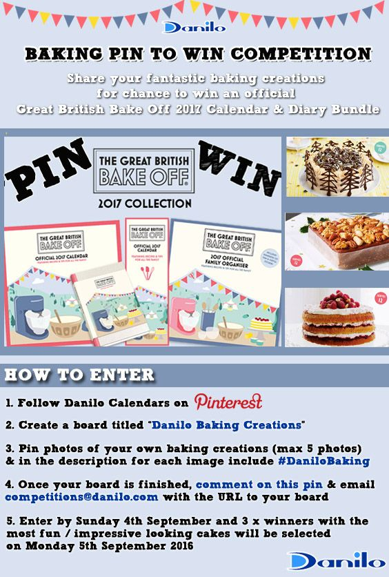 Enter our Baking Pin to Win Competition before 5th September! #DaniloBaking