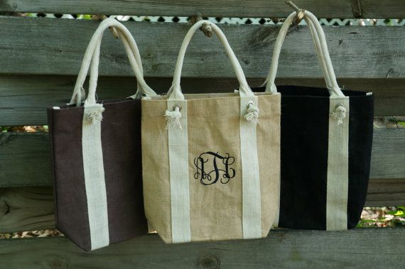 Personalized Tote Bag  Burlap  Wedding by thefancypigeon on Etsy, $19.00