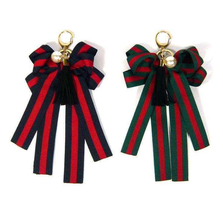 Big Stripe Web Ribbon Bow Dangle Tassel Pearl Bag Charm Key Ring Chain Holder   #Jacc