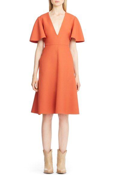 Valentino Flutter Sleeve V Neck Crepe Dress available at #Nordstrom