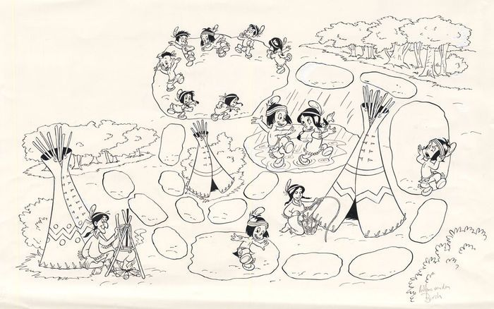 Van Den Bosch, Wilma - 4 Originele tekeningen voor stripblad Disneyland - Hiawatha - W.B.