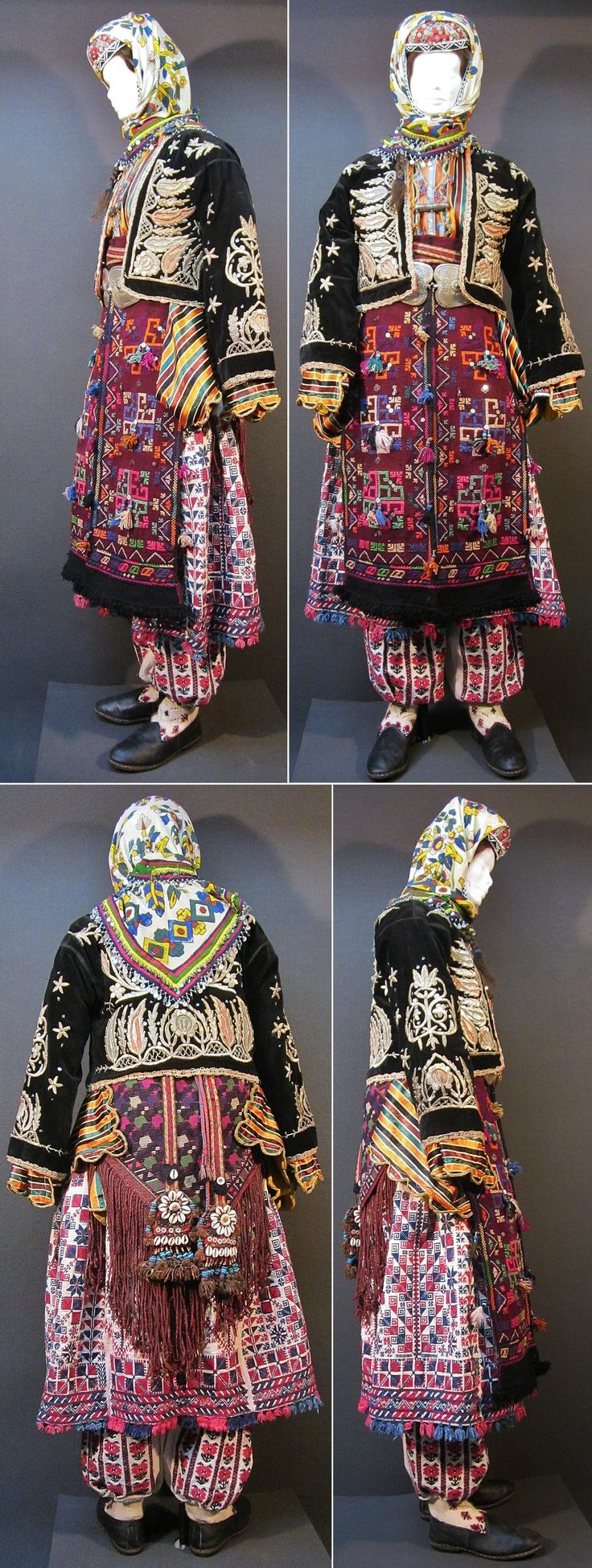 Traditional festive costume for young women, from the mountain villages around Dursunbey (80 km east of Balıkesir), ca. mid-20th century.  The silver jewelry (amulet necklace & belt buckle) is older (late 19th century).  The full costume consists of 16 items.  (Kavak Costume Collection - Antwerpen/Belgium).