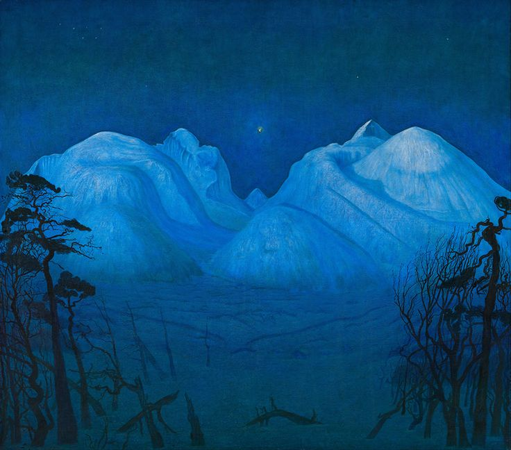 "J.E.H. MacDonald and Lawren Harris saw this painting in 1913 when they visited the Exhibition of Contemporary Scandinavian Art. Harald Sohlberg, ""Vinternatt i fjellene (Winter Night in the Mountains),"" 1901, private collection."