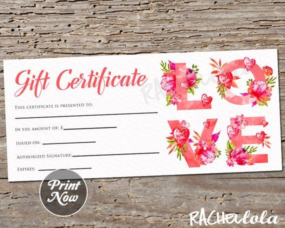Love Flower Printable Gift Certificate Template Valentine S Day Anniversary Photography Printable Gift Certificate Gift Certificate Template Printable Gift