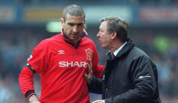 Eric Cantona and Alex Ferguson in 1996