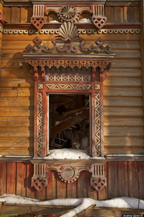 Russian carved window .