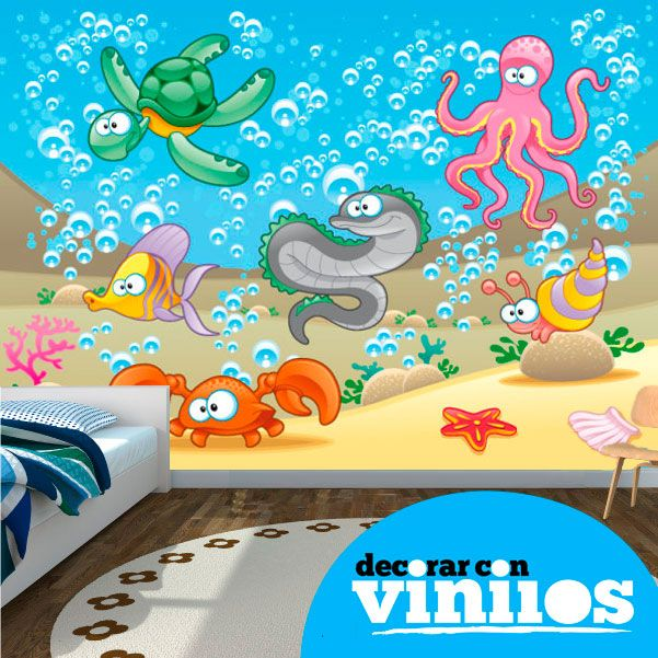 Mural decorativo infantil en vinilo de bajo el mar for Murales para decoracion