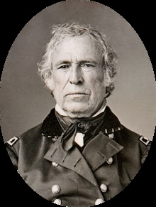 12. Zachary Taylor (November 24, 1784 – July 9, 1850) was the 12th U.S. president (1849–1850) & an American military leader. Initially uninterested in politics, he nonetheless ran as a Whig in the 1848 presidential election, defeating Lewis Cass. Taylor was the last President to hold slaves while in office, and the second and also last Whig to win a presidential election. He was the second president to die in office, following William Henry Harrison, who had died 9 years earlier.