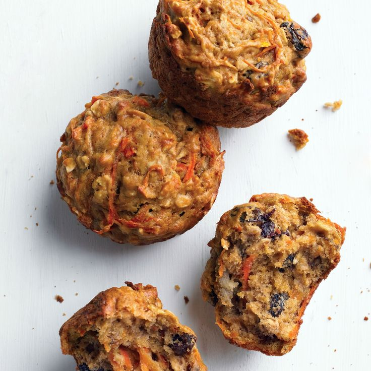 These muffins are surprisingly moist, even though they're low in fat, thanks to nutritious, flavorful add-ins like carrots, banana, and raisins.