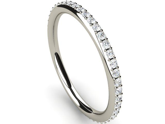 Full Eternity Diamond Ring round thin band 0.40ct Si2/H White Gold 18K Hallmarked - Paul Jewelry