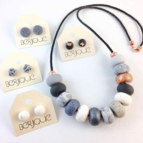 FREE EARRINGS Necklace polymer clay grey granite black by Berjique