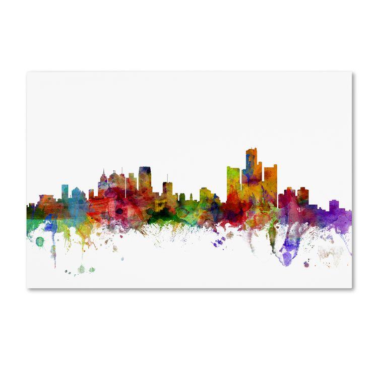 Michael Tompsett 'Detroit Michigan Skyline' Wall Art