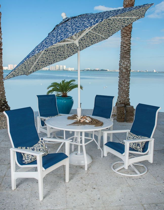 Marine grade polymer sling hi back chairs with table and umbrella. We ship everywhere. Wholesale prices to the public