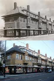 Rotterdam Hillegersberg - Kleiweg / Statenlaan, toen en nu. De hoekwinkel was Jamin