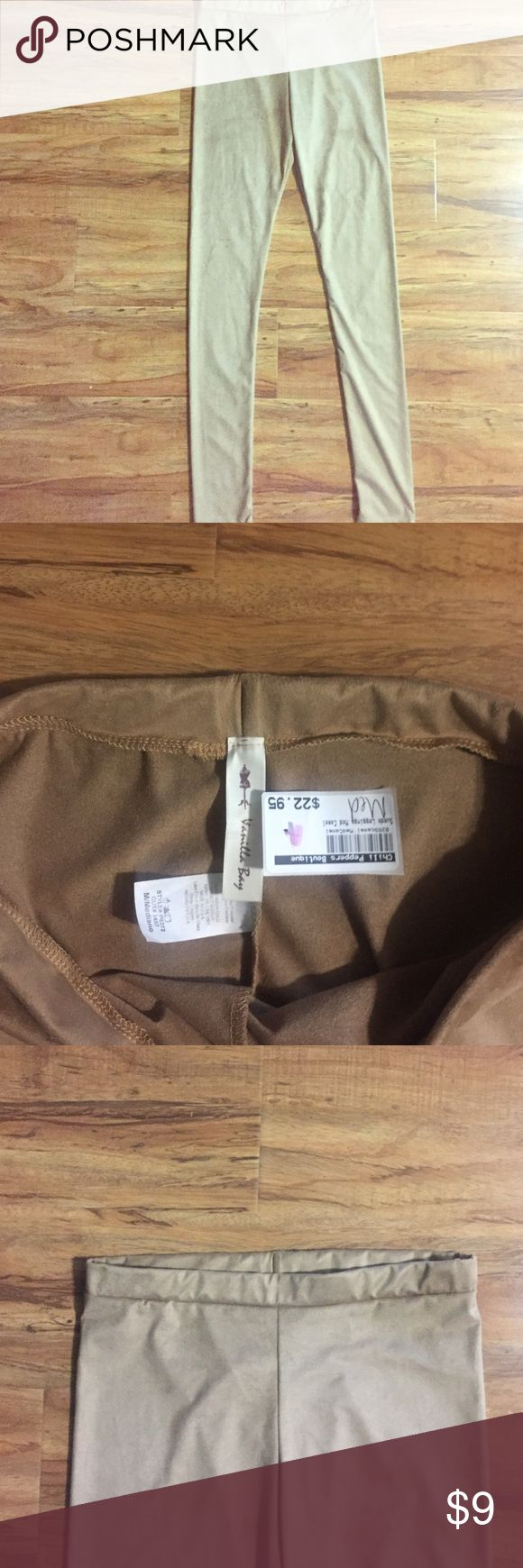 *NWT* Velvety Soft Suede Camel Leggings! Pair these unique beauties with any tunic or mini-dress to spice leggings up a notch!!! Suede-soft & velvety! Camel/tan neutral color goes with anything! Throw on some knee boots, cowboy boots, sandal or heel! DONE!👌🏼 *Boutique Unique* Vanilla Bay Pants Leggings